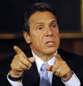 New York Governor Cuomo speaks during a cabinet meeting in Albany