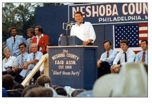 Reagan in Philadelphia, MS to launch his 1980 campaign