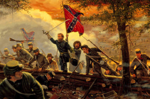 Confederate troops under their flag