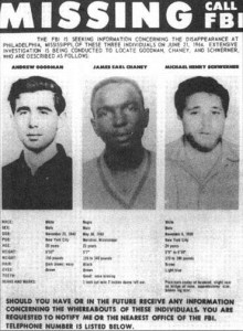 1964 FBI poster seeking information of missing civil rights workers.