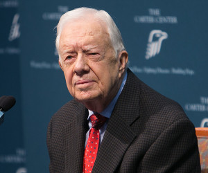 ATLANTA, GA - AUGUST 20:  Former President Jimmy Carter discusses his cancer diagnosis during a press conference at the Carter Center. on August 20, 2015 in Atlanta, Georgia. (Photo by Jessica McGowan/Getty Images)