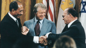Carter with Egypt's Sadat and Israel's Begin