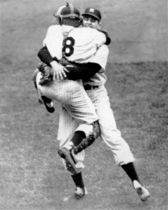 Yogi Berra leaps into the arms of Don Larsen after Larsen pitched the Perfect Game against the Brooklyn dodgers in the fifth game of the 1956 World Series at Yankee Stadium October 8, 1956.