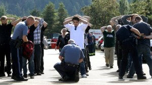 Police search students at Umpqua Community College last week