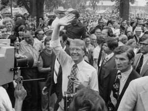 Jimmy Carter campaigns in Iowa in 1975