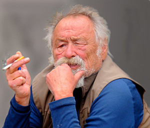 Jim Harrison in a typical pose