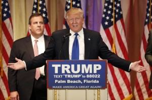 Trump and Christie. Photo by Luke Sharrett/Bloomberg via Getty Images
