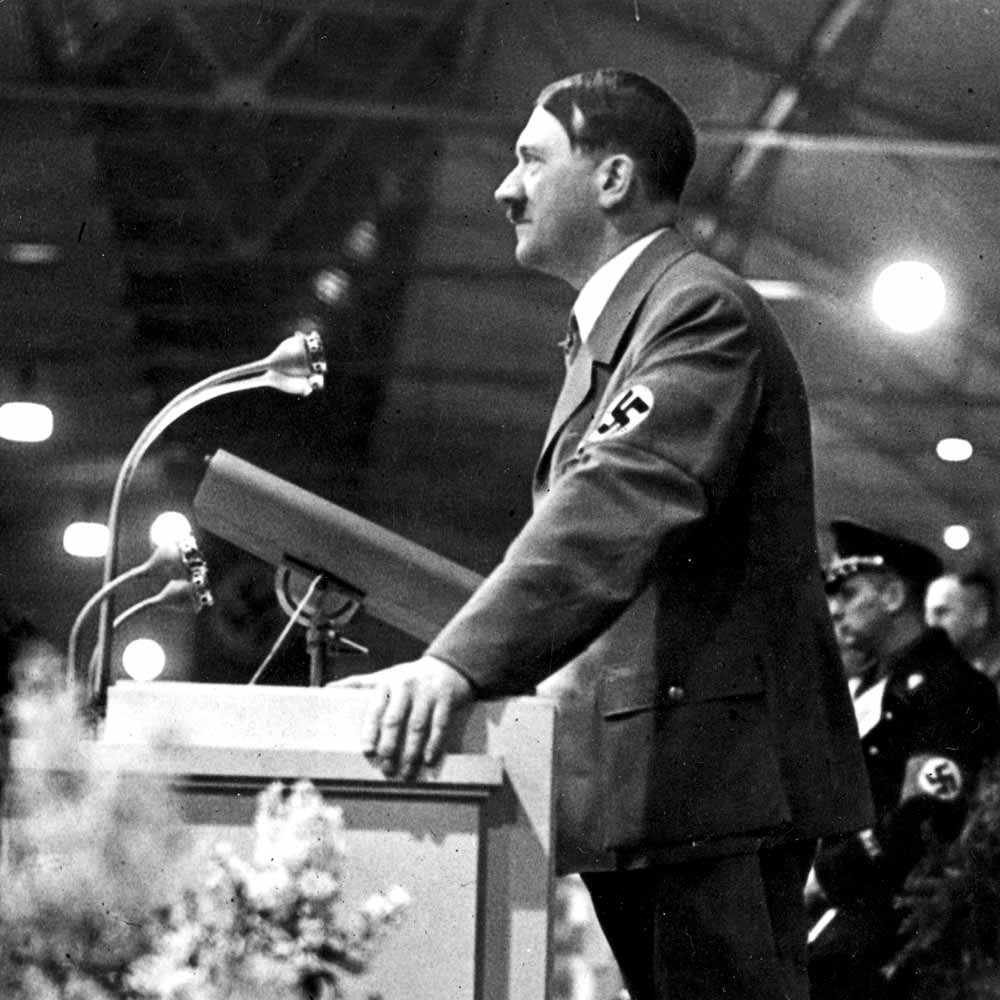 a speech and report on adolf hitler Images of adolf hitler are seen at an art festival in weimar, germany, in this aug 31, 2015, file photo (cns photo/sebastiana kehnert, epa) the former, weikart notes, was related to theological .