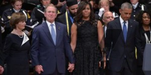Former President and Mrs. Bush with President and Mrs. Obama at Dallas memorial for murdered police officers