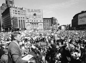 John Kennedy in Detroit in 1960