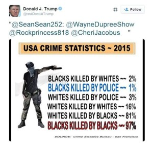 """Just one of Trump's """"re-tweets"""" of a completely disavowed list of """"statistics"""" widely cited by white supremacist groups"""