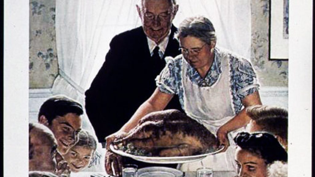 "Norman Rockwell's ""Freedom from Want"" painting first appeared in The Saturday Evening Post in 1943."